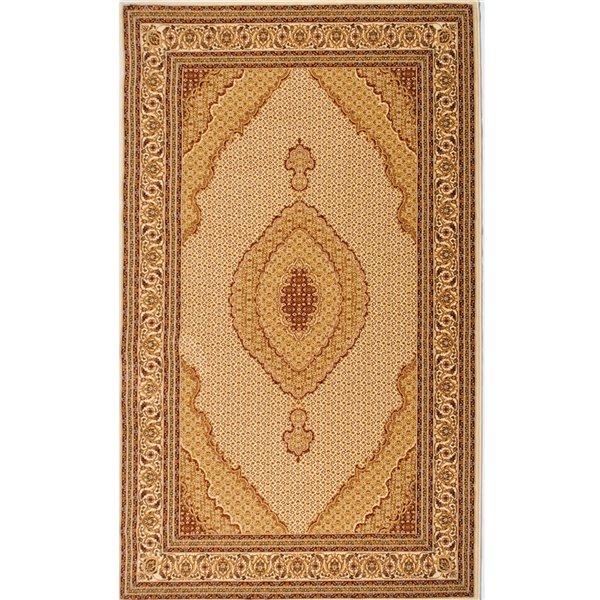 Tapis décoratif rectangulaire Majestic Rug Branch de style rétro, fait à la machine, 5 pi x 8 pi, crème et beige