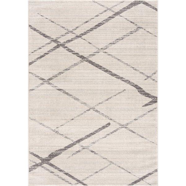 Tapis décoratif Savannah Rug Branch de style mi-siècle moderne, fait à la machine, 3 pi x 5 pi, blanc cassé et gris