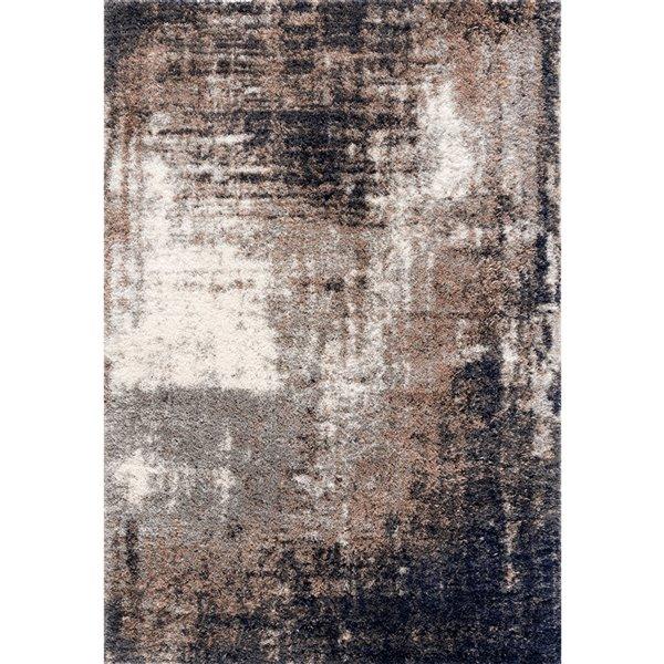 Tapis décoratif Retro Shag Rug Branch de style mi-siècle moderne, fait à la machine, 5 pi x 8 pi, grège et noir