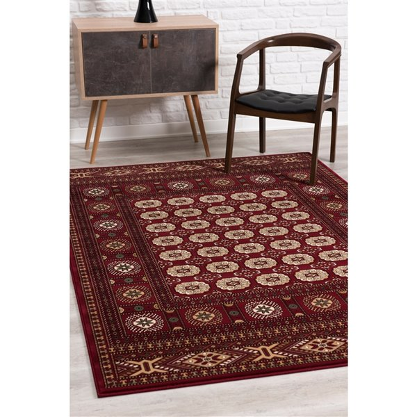 Rug Branch Majestic Vintage Rectangular Area Rug - Machine-Made - 5-ft x 8-ft - Dark Red and Cream