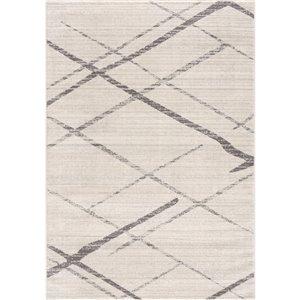 Tapis décoratif Savannah Rug Branch de style mi-siècle moderne, fait à la machine, 4 pi x 6 pi, blanc cassé et gris