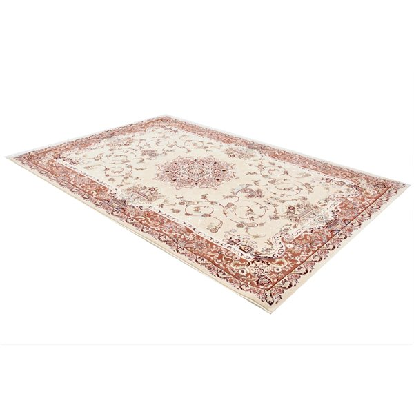 Rug Branch Majestic Vintage Rectangular Area Rug - Machine-Made - 7-ft x 10-ft - Cream and Light Pink