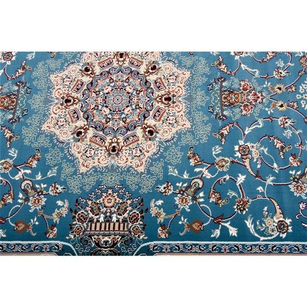Tapis décoratif rectangulaire Majestic Rug Branch de style rétro, fait à la machine, 7 pi x 10 pi, bleu pâle et crème