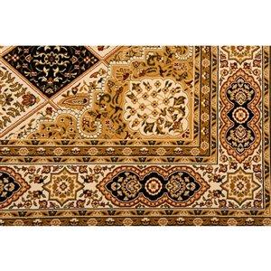 Tapis décoratif rectangulaire Majestic Rug Branch de style rétro, fait à la machine, 8 pi x 11 pi, beige et noir