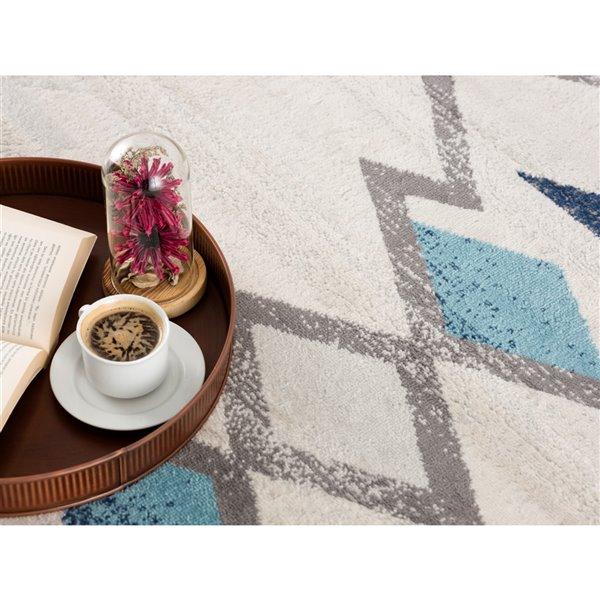 Tapis décoratif Savannah Rug Branch de style mi-siècle moderne, fait à la machine, 8 pi x 11 pi, crème et bleu