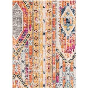 Tapis décoratif Savannah Rug Branch de style mi-siècle moderne, fait à la machine, 4 pi x 6 pi, orange et gris