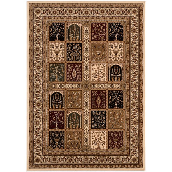 Rug Branch Majestic Vintage Rectangular Area Rug - Machine-Made - 10-ft x 13-ft - Brown and Cream