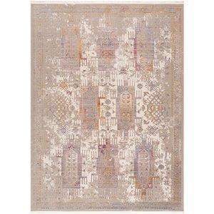 Tapis décoratif rectangulaire Amalfi Rug Branch de style rétro, fait à la machine, 5 pi x 8 pi, beige et blanc cassé