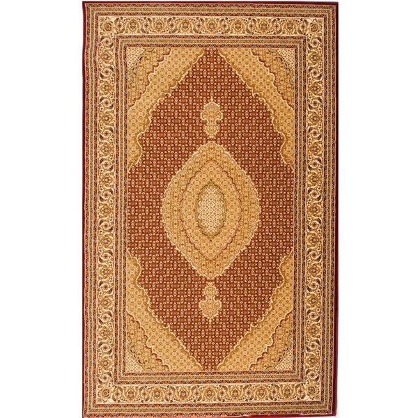 Tapis décoratif rectangulaire Majestic Rug Branch de style rétro, fait à la machine, 4 pi x 6 pi, beige et rouge