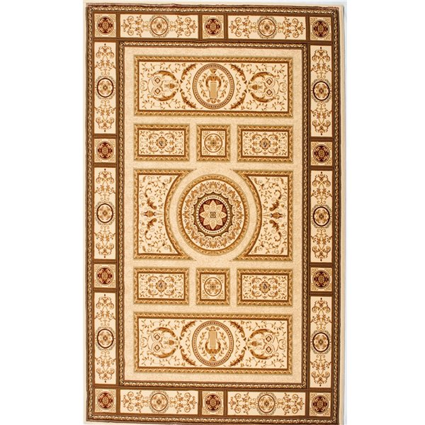 Tapis décoratif rectangulaire Majestic Rug Branch de style rétro, fait à la machine, 10 pi x 13 pi, crème