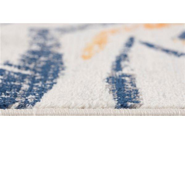 Tapis décoratif Savannah Rug Branch de style mi-siècle moderne, fait à la machine, 4 pi x 6 pi, mauve et bleu