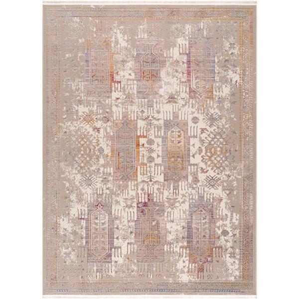 Tapis décoratif rectangulaire Amalfi Rug Branch de style rétro, fait à la machine, 8 pi x 11 pi, beige et blanc cassé