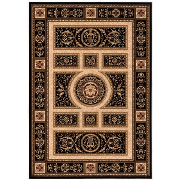 Rug Branch Majestic Vintage Rectangular Area Rug - Machine-Made - 10-ft x 13-ft - Dark Brown and Black