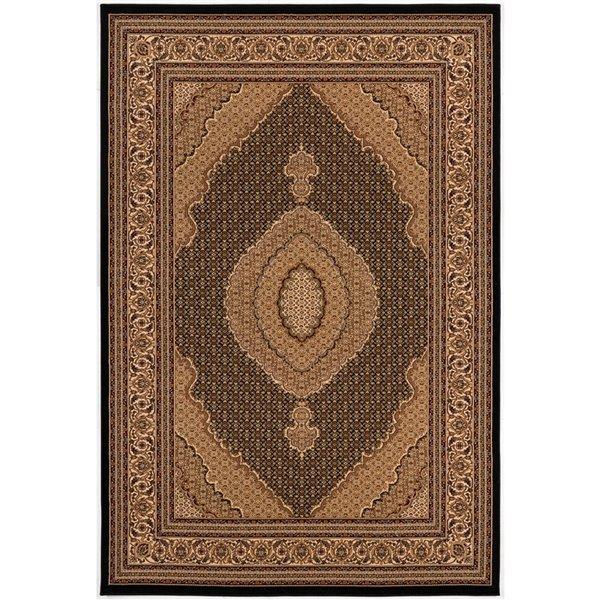 Tapis décoratif rectangulaire Majestic Rug Branch de style rétro, fait à la machine, 7 pi x 10 pi, brun pâle et noir