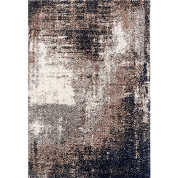 Rug Branch Retro Shag Mid-Century Modern Area Rug - Machine-Made - 4-ft x 6-ft - Greige and Black