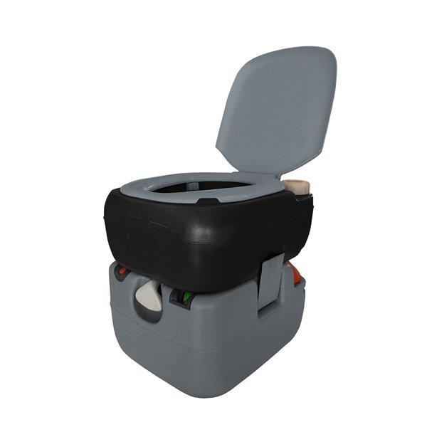 Toilette portative électrique Flush N Go de Reliance, 12 L, gris/noir
