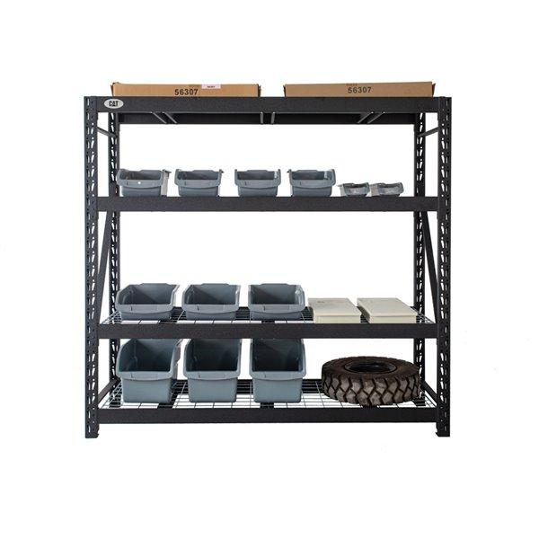 Étagère industrielle à 4 tablettes, 24 po x 72 po x 72 po, acier, noir