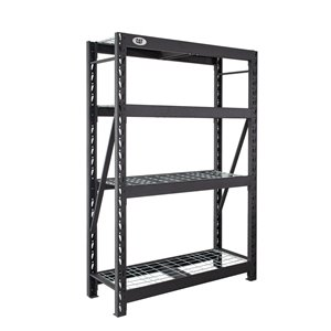 Caterpillar Industrial 4-Tier Free-Standing Shelving Unit - 18-in x 48-in x 72-in - Steel - Black
