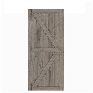 Porte de grange préfinie en MDF Artisan de Colonial Elegance, 37 po x 84 po, vinyle gris