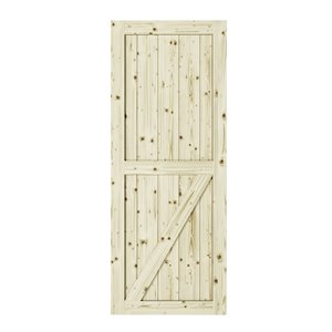 Porte de grange en bois de pin Half Check de Colonial Elegance, 33 po x 84 po, naturel