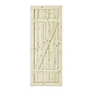 Colonial Elegance Country Unfinished Wood Barn Door - Pine - 42-in x 84-in - Natural