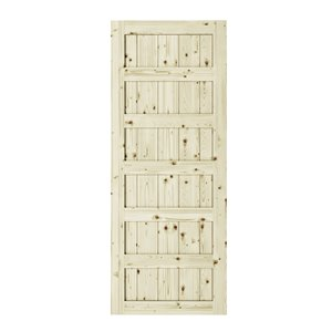 Colonial Elegance Shaker Unfinished Wood Barn Door - Pine - 33-in x 84-in - Natural