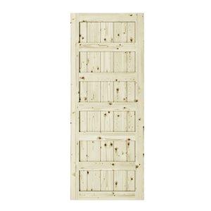 Porte de grange en bois de pin Shaker de Colonial Elegance, 33 po x 84 po, naturel