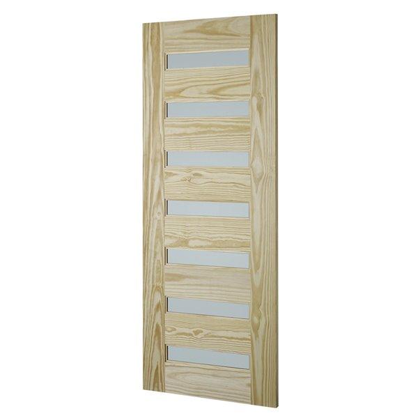 Porte de grange en bois de pin de Colonial Elegance, 7 panneaux, 33 po x 84 po, naturel