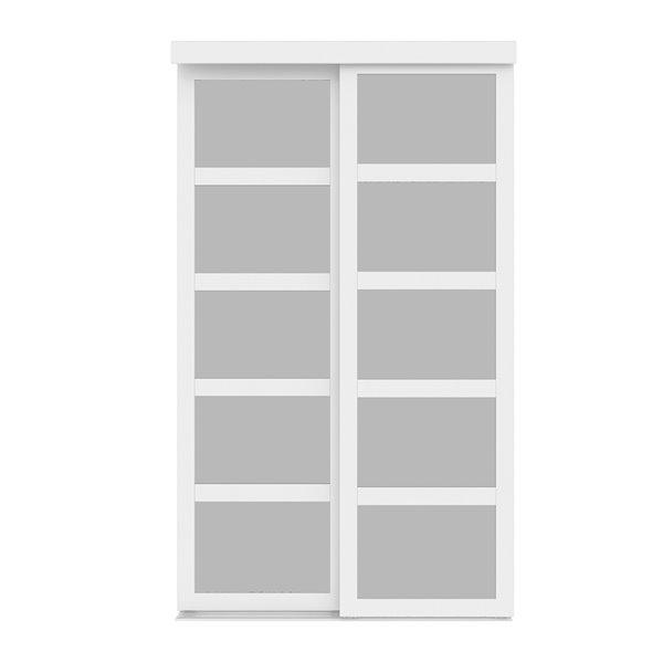Porte coulissante en MDF  à 5 panneaux Colonial Elegance et quincaillerie d'installation, 72 po x 80 po, blanc