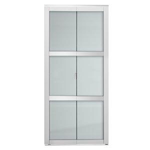 Porte pliante en MDF à 3 panneaux Colonial Elegance et quincaillerie d'installation, 36 po x 80 po, blanc