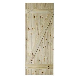 Porte de grange en bois de pin Z-Frame de Colonial Elegance, 37 po x 84 po, naturel