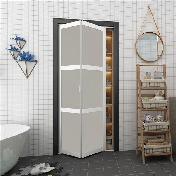 Porte pliante en MDF à 3 panneaux Colonial Elegance et quincaillerie d'installation, 30 po x 80 po, blanc