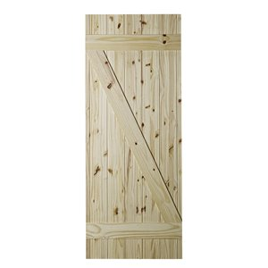 Colonial Elegance Z-Frame Unfinished Wood Barn Door - 33-in x 84-in - Natural Pine