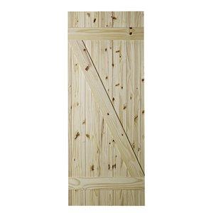 Porte de grange en bois Z-Frame de Colonial Elegance, 33 po x 84 po, pin naturel