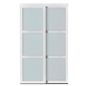 Porte coulissante en MDF  à 3 panneaux Colonial Elegance et quincaillerie d'installation, 72 po x 80 po, blanc