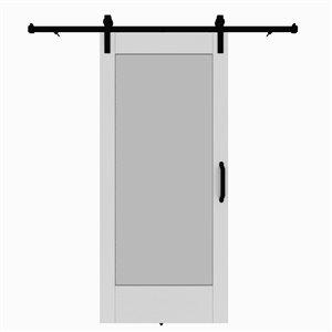 Porte de grange préfinie en MDF de Colonial Elegance avec trousse d'installation, 37 po x 84 po, vinyle blanc