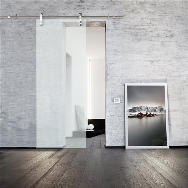 Colonial Elegance Glacier Prefinished Glass Barn Door With Installation Hardware Kit 33 In X 84 In Frosted Glass Kmglgcf 33bn Rona