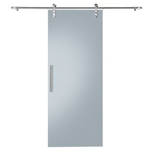 Colonial Elegance Glacier Prefinished Glass Barn Door with Installation Hardware Kit - 33-in x 84-in - Frosted Glass