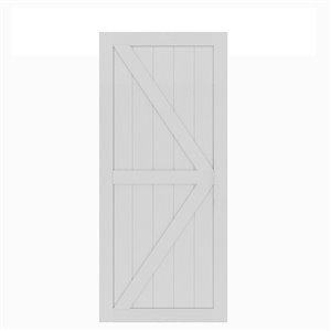 Porte de grange préfinie en MDF Artisan de Colonial Elegance, 37 po x 84 po, vinyle blanc