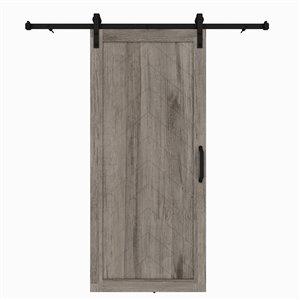 Porte de grange préfinie en MDF Herringbone de Colonial Elegance avec trousse d'installation, 37 po x 84 po, vinyle gris