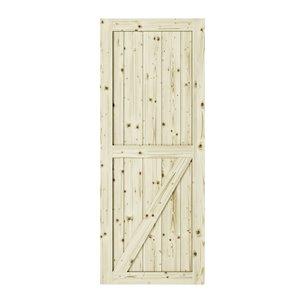 Porte de grange en bois de pin Half Check de Colonial Elegance, 37 po x 84 po, naturel