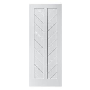 Porte de grange en bois de pin Chevron de Colonial Elegance, 37 po x 84 po, blanc