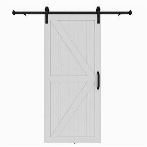 Porte de grange préfinie en MDF Artisan de Colonial Elegance avec trousse d'installation, 37 po x 84 po, vinyle blanc