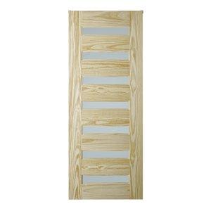 Porte de grange en bois de pin de Colonial Elegance, 7 panneaux, 37 po x 84 po, naturel