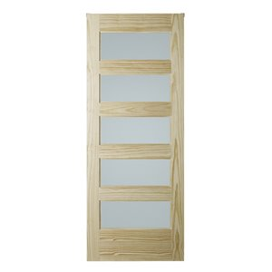 Colonial Elegance Unfinished Wood Barn Door - Pine - 42-in x 84-in - Natural