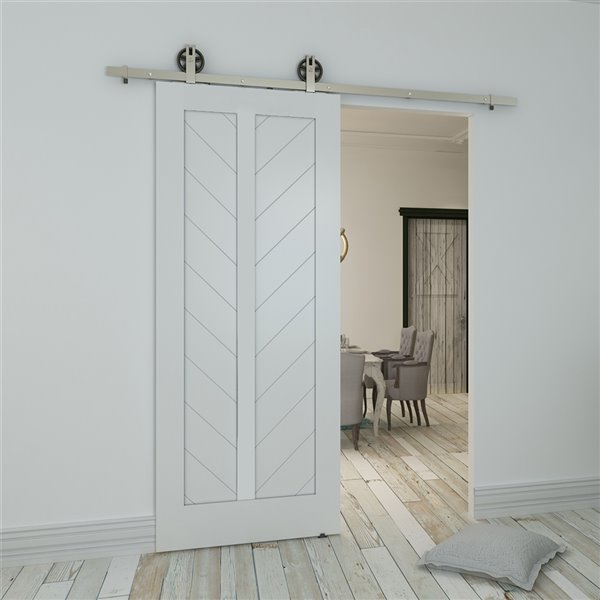 Porte de grange en bois de pin Chevron de Colonial Elegance, 33 po x 84 po, blanc