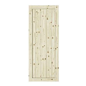 Porte de grange apprêtée en bois Rustic de Colonial Elegance, 33 po x 84 po, pin naturel