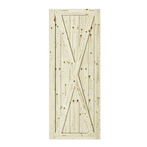 Porte de grange en bois de pin Station de Colonial Elegance, 37 po x 84 po, naturel