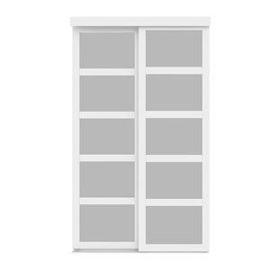 Porte coulissante en MDF  à 5 panneaux Colonial Elegance et quincaillerie d'installation, 60 po x 80 po, blanc