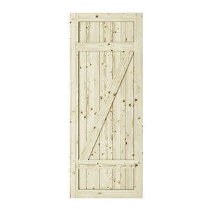 Porte de grange en bois de pin Country de Colonial Elegance, 37 po x 84 po, naturel